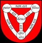 pater = Père;   filius = Fils spts scts = Esprit Saint deus = Dieu